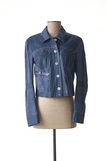 Veste en cuir bleu HICH USE pour femme