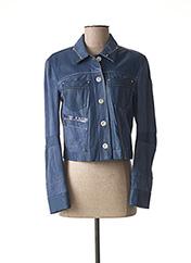 Veste en cuir bleu HICH USE pour femme seconde vue