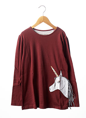 T-shirt manches longues rouge MILK ON THE ROCKS pour fille