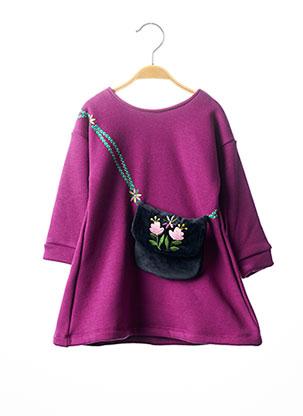 Robe mi-longue violet MILK ON THE ROCKS pour fille