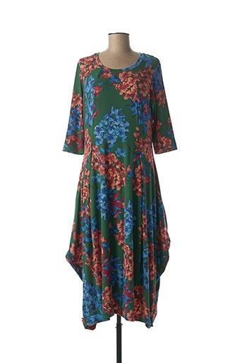Robe mi-longue vert ALEMBIKA pour femme
