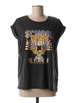 T-shirt manches courtes noir SCHOOL RAG pour femme