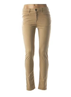 Pantalon casual beige MENSI COLLEZIONE pour femme