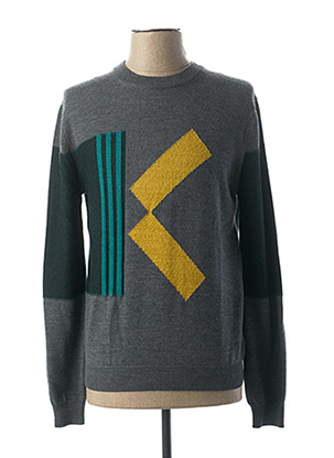 Pull col rond gris KENZO pour homme