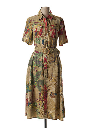 Robe mi-longue marron DESIGUAL pour femme