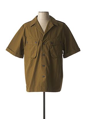 Chemise manches courtes vert FLEURS DE BAGNE pour homme