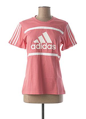 T-shirt manches courtes rose ADIDAS pour femme