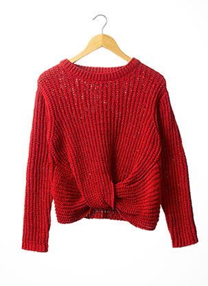 Pull col rond rouge BECKARO pour fille