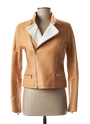 Veste en cuir marron ZAPA pour femme