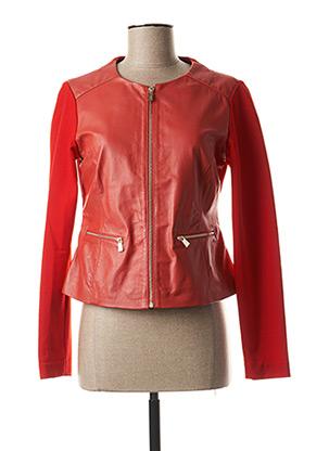 Veste en cuir rouge TRUSSARDI JEANS pour femme