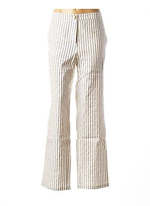 Pantalon casual beige MARGA NOVAS pour femme