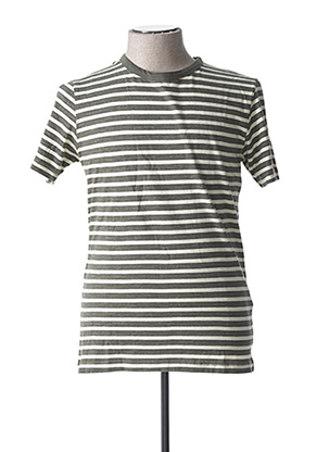 T-shirt manches courtes vert SELECTED pour homme