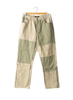 Jeans coupe droite vert BERSHKA pour femme