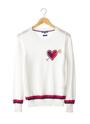 Pull col rond blanc TOMMY HILFIGER pour femme